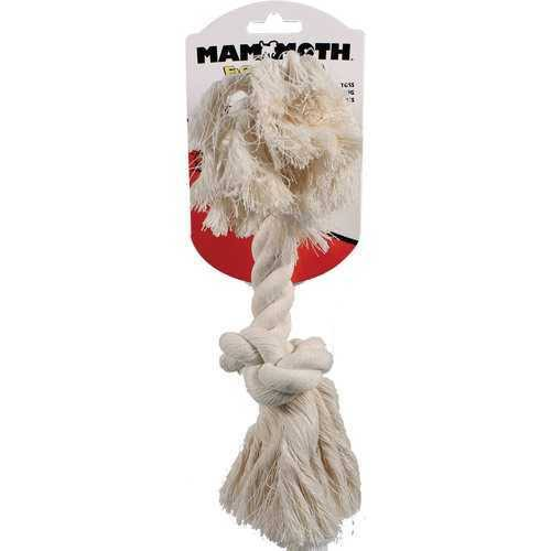 Mammoth Flossy Chews Cotton 2-Knot Rope Bone Dog Toy - White, Medium, 12""