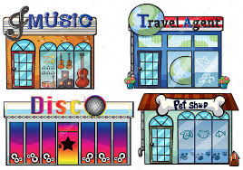 A Musical Store Travel Agent Office Disco House And Pet Shop Stock