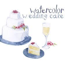 Custom Watercolor Wedding Cake Wine Reception Clipart Invites Clip Art Romantic Rustic Weddings