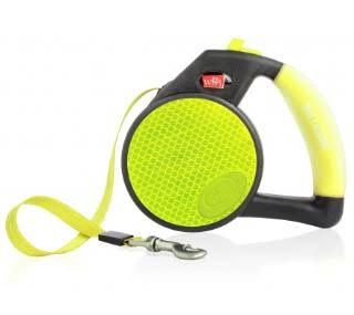 Wigzi Reflective Gel Retractable Leash - Yellow, Medium, 16'