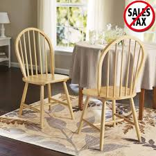 Windsor Chair Set Of 2 Solid Wood Dining Room Furniture Kitchen Chairs Natural On