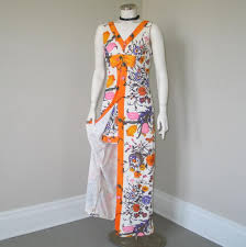 vintage 1960s brightly colored pants set with maxi tunic top