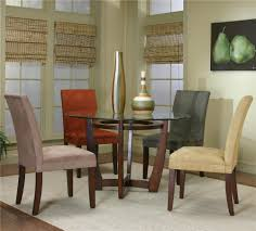 100 Cherry Table And 4 Chairs Round Dining And MicroSuede By Cramco Inc Wolf And