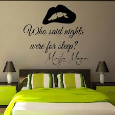 Wall Decals Marilyn Monroe Quote Who Said Nights Were For Sleep Mural Vinyl Decal Sticker Living Room Interior Design Bedroom Decor By WallDecalswithLove On