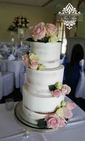 Semi Naked Wedding Cake With White And Pink Roses Vintage Stand Custom