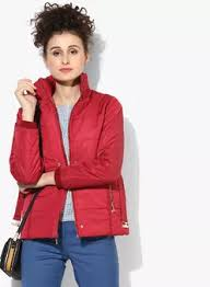 Red Solid Winter Jacket