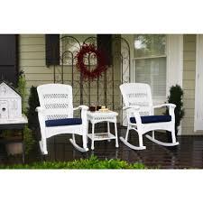 100 Navy Blue Rocking Chair Tortuga Outdoor Portside Plantation White 3Piece Wicker Outdoor