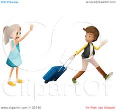 Cartoon A Girl Waving Goodbye To A Boy With Luggage Royalty Free Vector Clipart
