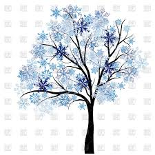 Beautiful winter tree with snowflakes leaves Royalty Free Vector Clip Art
