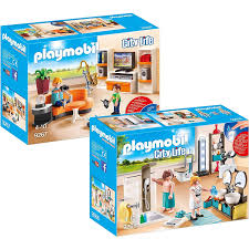 playmobil 9267 9268 city 2er set wohnzimmer badezimmer