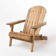Noble House Hanlee Natural Stained Folding Wood Adirondack Chair