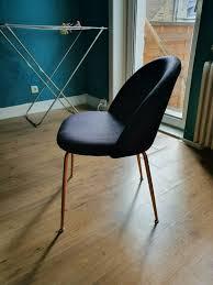 cultfurniture sessel kupfer esszimmer stuhl samt polster schwarz
