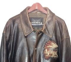 avirex brown leather indian head varsity hip hop jacket