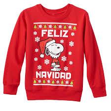Peanuts Kids Snoopy Peanuts Feliz Navidad Christmas Sweatshirt