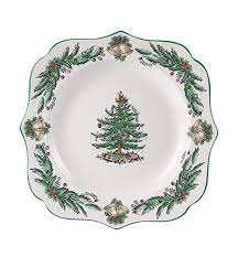 Spode Christmas Tree Garland Square Fancy Plate 9quot
