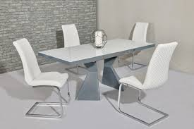 100 White Gloss Extending Dining Table And Chairs Beautiful Grey Set Striped Extendable