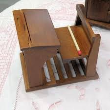 bureau ecolier en bois pupitre écolier bois avec banc miniature maison de poupée bureau à