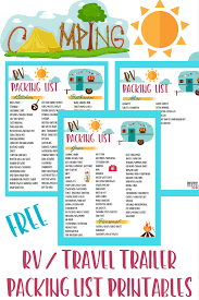 Free RV Checklist Printable Packing List Dont Forget Anything On Your Next Camping