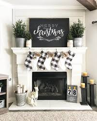 Black And White Christmas Fireplace Inspiration