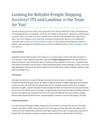 100 Landstar Trucking Reviews Calamo Looking For Reliable Freight Shipping Services