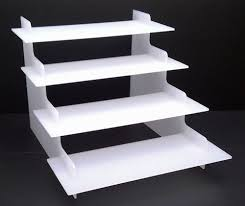 4 Step White Acrylic Display Product Retail Counter Stand Perspex