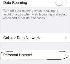 to setup personal hotspot on iphone 4