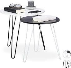 relaxdays beistelltisch 2er set rund satztische flur wohnzimmer klein 3 metallbeine ø 40 und 48 cm weiß schwarz