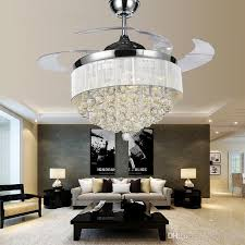 2018 modern chrome crystal led ceiling fans invisible blades
