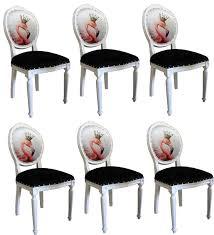 casa padrino luxus barock esszimmer set flamingo mit krone weiß schwarz mehrfarbig 48 x 50 x h 98 cm 6 handgefertigte esszimmerstühle mit bling