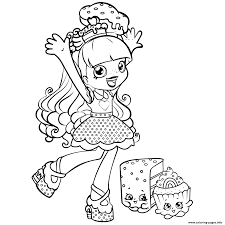 Print Shopkins Shoppie Is Happy Cupecake Coloring Pages
