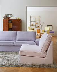 Dusty Rose Panama Cotton Cover From Bemz On An IKEA Kivik One Seater Section And A In Lavender Belgian Linen The Sofa