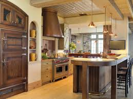 Kitchen Rustic Style Kitchens Simple White Design Sparkling Hanging Crystal Chandelier Some Wooden Stools Ceramic