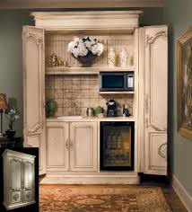 turn an armoire into a coffee bar drink station very clever
