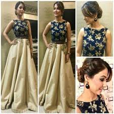 Hina Khans Contemporary Outfit Navy Blue Heavy Work Blouse Lehenga
