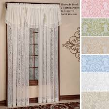 White Penneys Curtains With Wall Mural Decor And