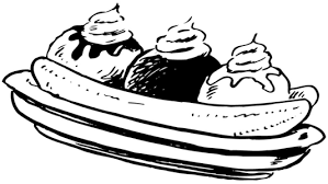 Banana split clipart black and white