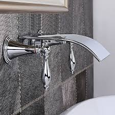 Wall Mounted Waterfall Faucets For Bathroom Sinks by Milly Waterfall Wall Mounted Bathroom Faucet