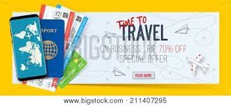 Special Offer On Business Travel Trip Banner Passport With Tickets Smartphone And Credit