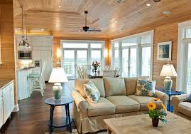 knotty pine ceiling living room rustic with recessed lighting