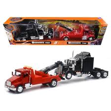 Kenworth T300 Tow Truck Red And Kenworth W900 Cab Black 1/43 By New ...