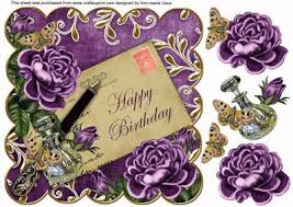 Purple Roses Happy Birthday 8in Decoupage Topper CUP 10