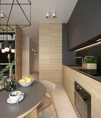 wohnküche helles holz matt schwarz oberschränke bis zur
