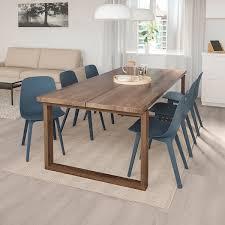 mörbylånga odger tisch und 6 stühle eichenfurnier blau 220x100 cm