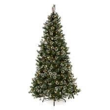 White Flocked Christmas Tree Walmart by Glittery Pine Slim Pre Lit Christmas Tree Hayneedle