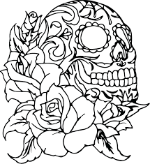 Skull Color Pages Coloring Roses And Skulls Eliolera