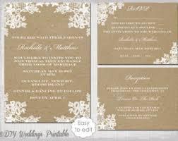 Rustic Wedding Invitation Set DIY Lace Printable Kraft Template Suite