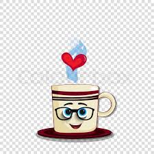 Cute Cartoon Coffee Mug Character With Striped Print Funny Face Glasses And Heart In Steam Isolated On Transparent Background Vector Illustration
