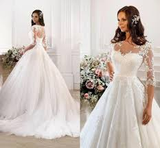 2017 elegant lace empire waist a line wedding dresses with half