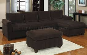 f7131 reversible sectional sofa in chocolate corduroy by poundex