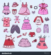 set cute hand drawn clothes baby stock vector 357041393 shutterstock